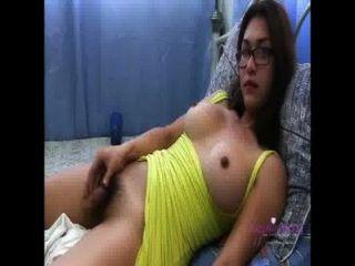 Hot Amateur Shemale In Yellow Dressing Taping Herself Masturbating