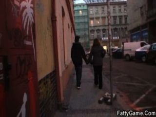 Skinny guy is picked up by horny fatty