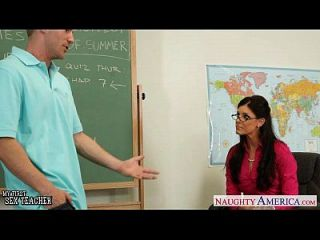 Tiny titted teacher India Summer fuck her young student