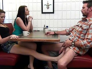 Daughter Gives Footjob And Bj To Not Her Dad Under The Table