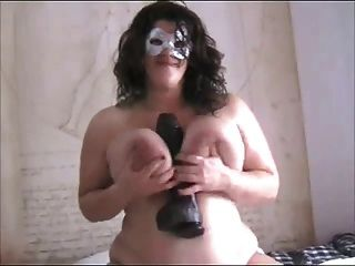 Horny Fat Bbw Ex Gf With Big Tits Sitting On Black Dildo