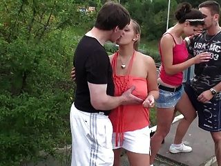 Public GROUP sex ORGY with BIG tits Part 1