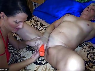OldNanny Sexy young Girl and skinny old mature have sex with