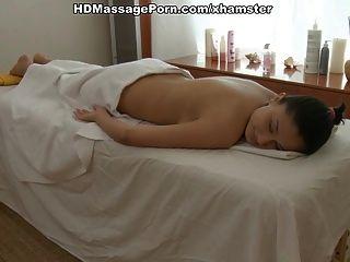 Oriental beauty fucked during massage