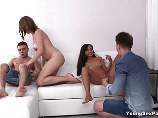 Young Sex Parties - Double date and double fucking