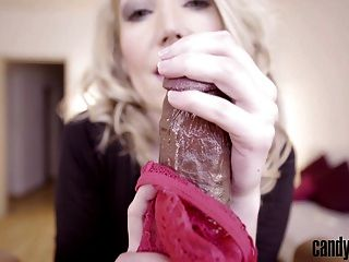Candy May - Removes her panties to give handjob to BBC