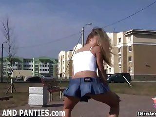 Redhead Britney flashing her little panties