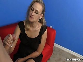 Mature Woman Jerks A Horny Young Guy
