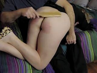 Wife Spanked OTK With Wooden Paddle