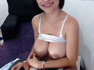 Big lactating tits played with by Columbian