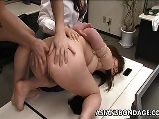 Bent in the office and tied to be fucked hard