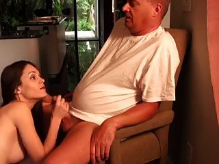 Lucky old man Fuck hot brunette Slow motion cum shots