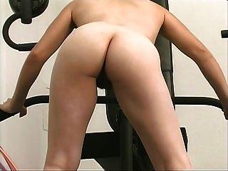 Short haired brunette rubs her wet clit till orgasm