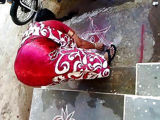 Satin Silk Saree Aunty Back